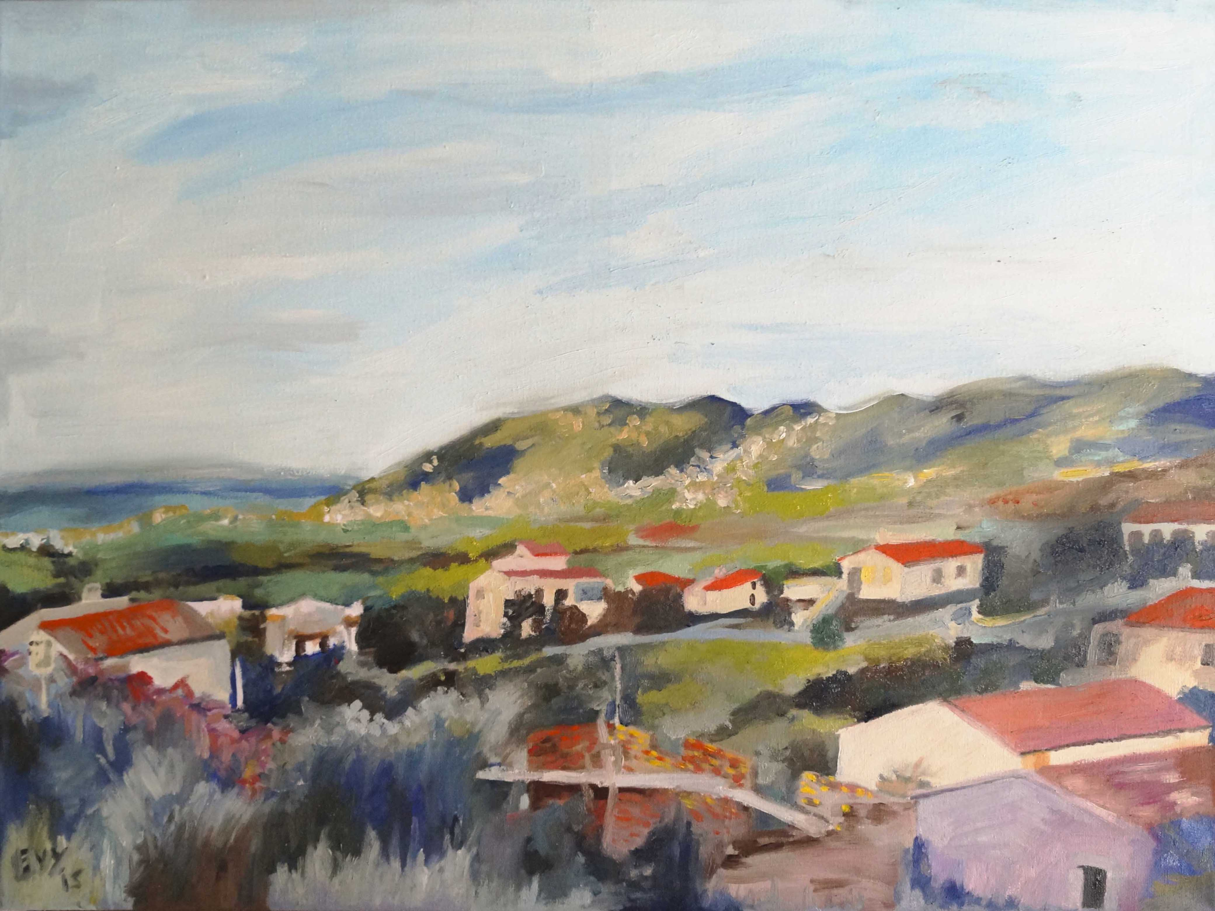 house on the hill, oil on canvas